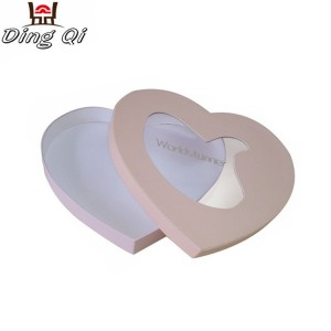 Custom heart shaped cardboard candy chocolate gift packaging box with inserts window for chocolate