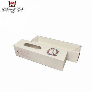 Square drawer cardboard foldable candy macaron food packaging gift box with clear window for cookies